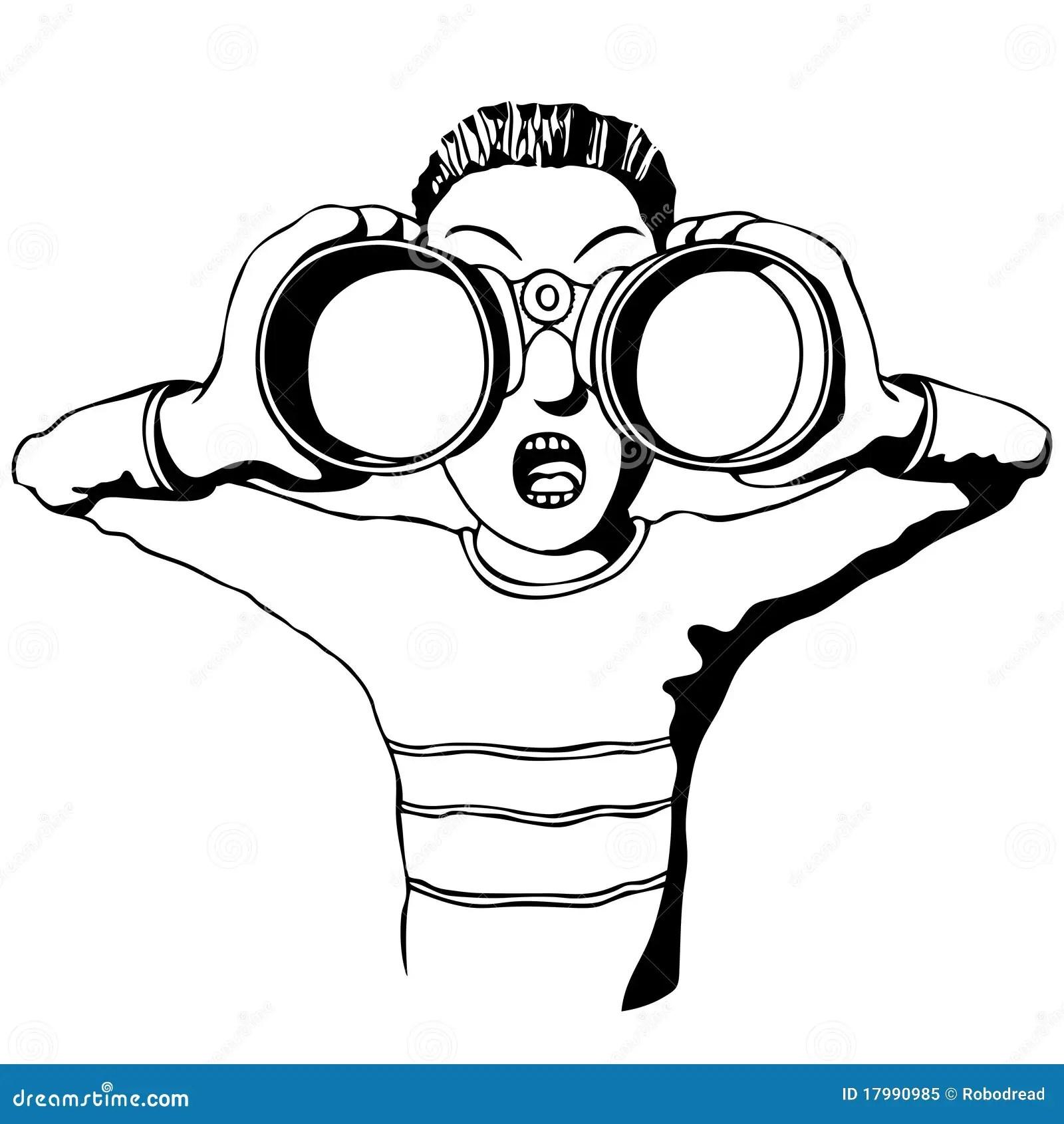 Child With Binoculars Stock Vector Illustration Of