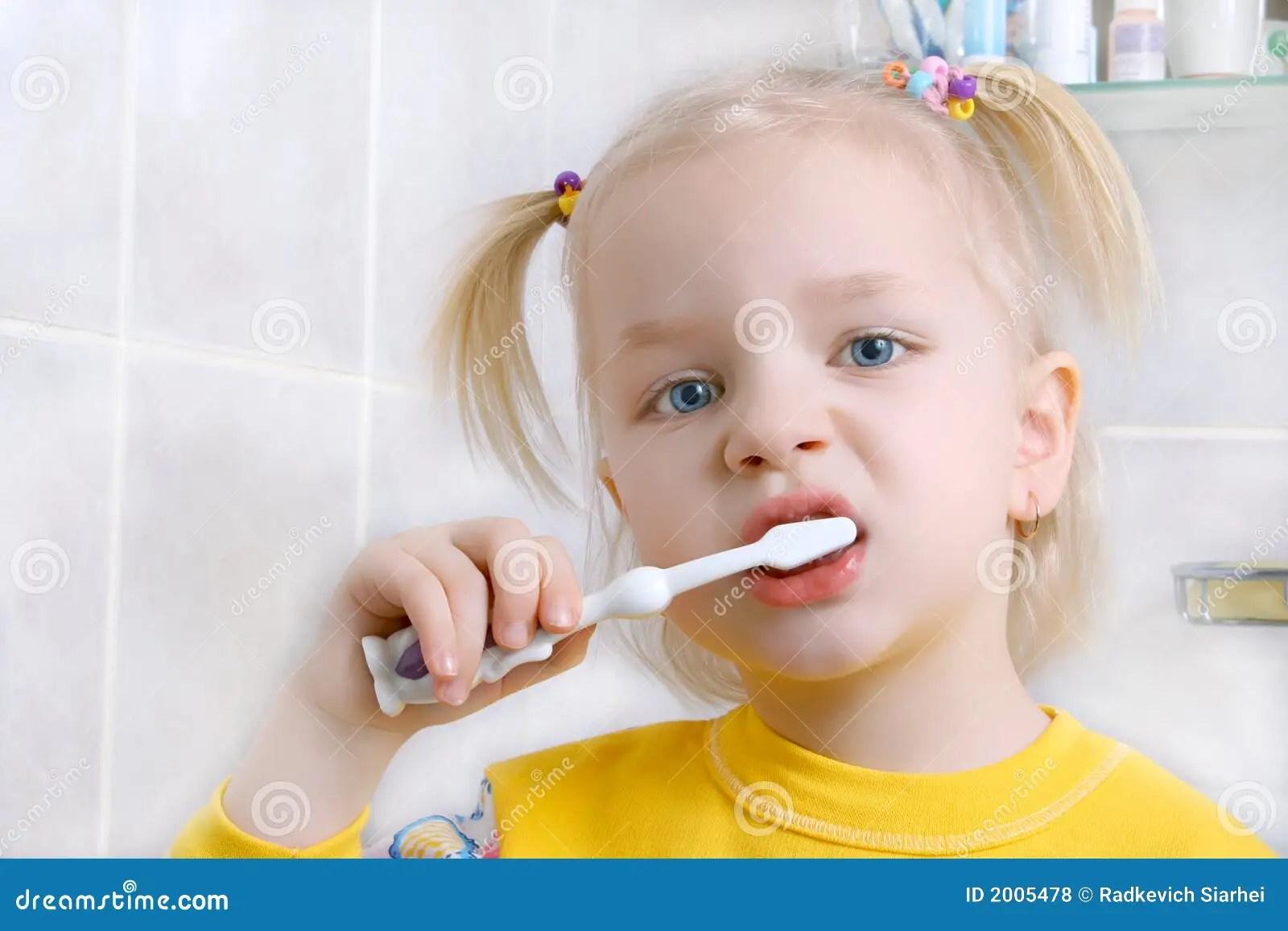 Child Brushing Teeth Stock Photo Image Of People