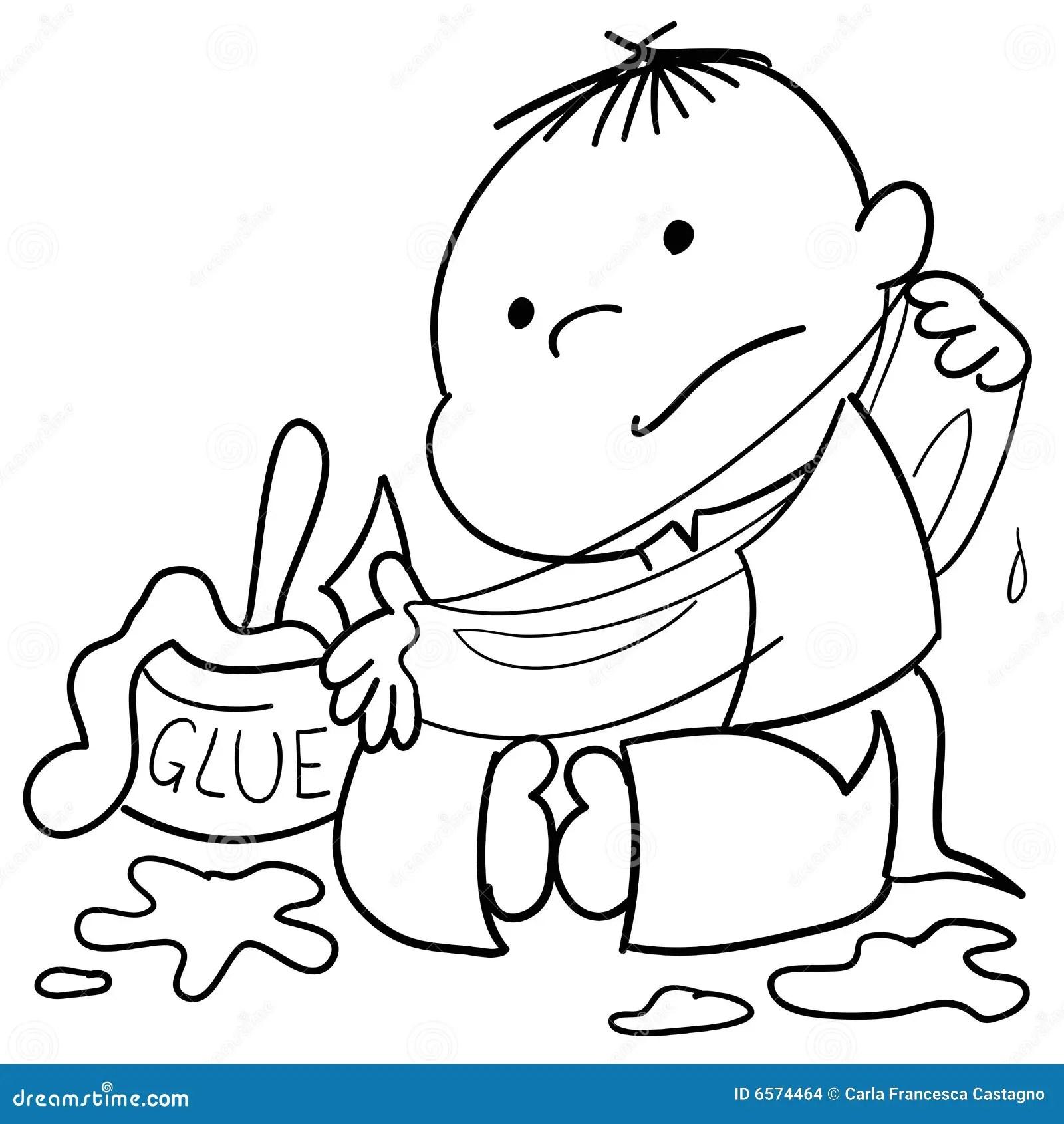 Child Dirty Of Glue Stock Vector Illustration Of Children