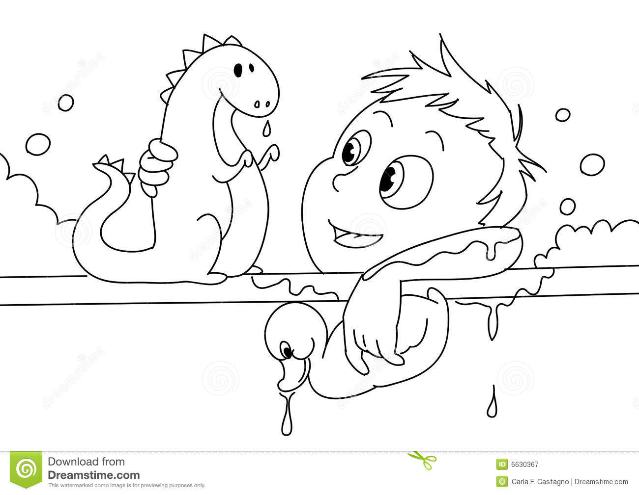 Child Having A Bath Bw Stock Vector Illustration Of Clean