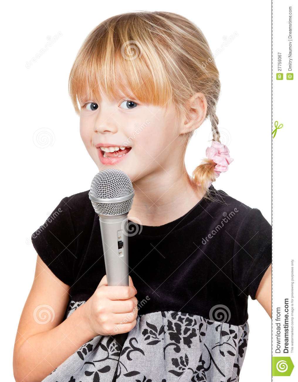 Child With Microphone Singing Royalty Free Stock