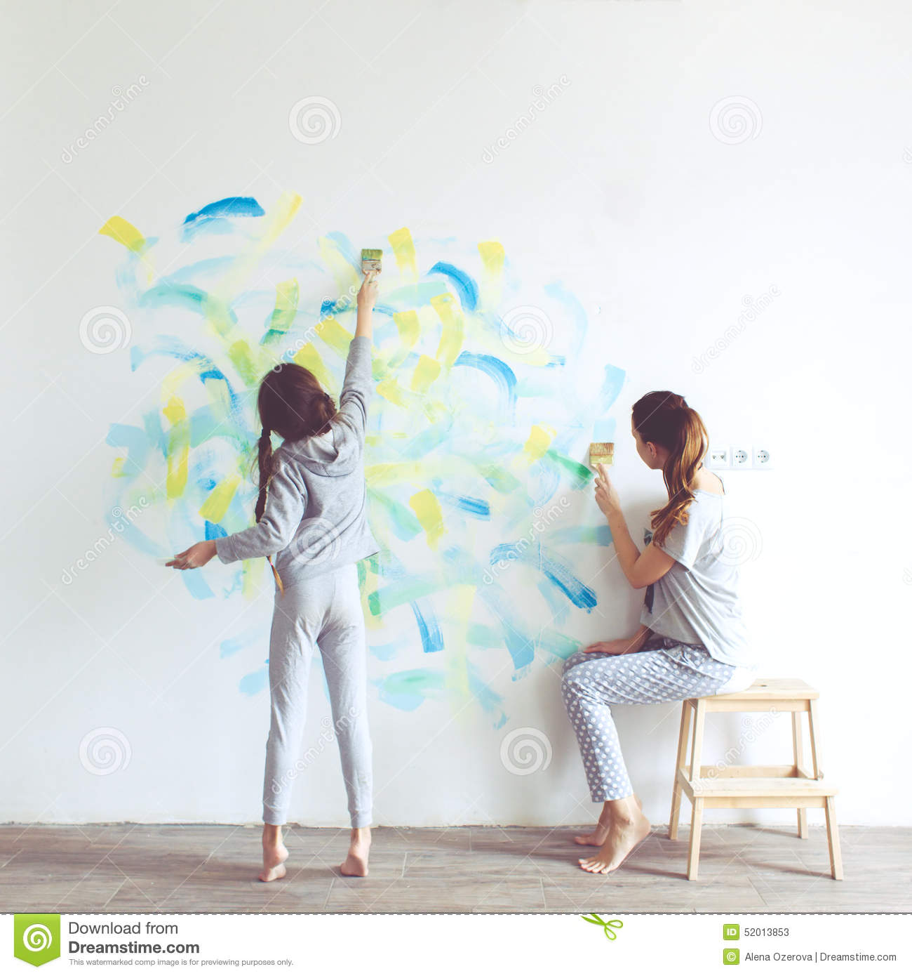 Child painting wall stock image. Image of parent, draw