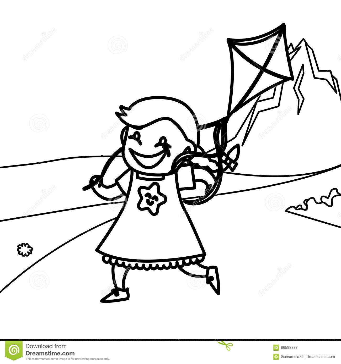 Child Playing Kite Coloring Page Stock Illustration