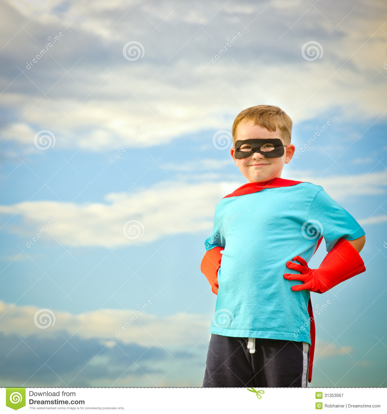 Child Pretending To Be A Superhero Stock Image