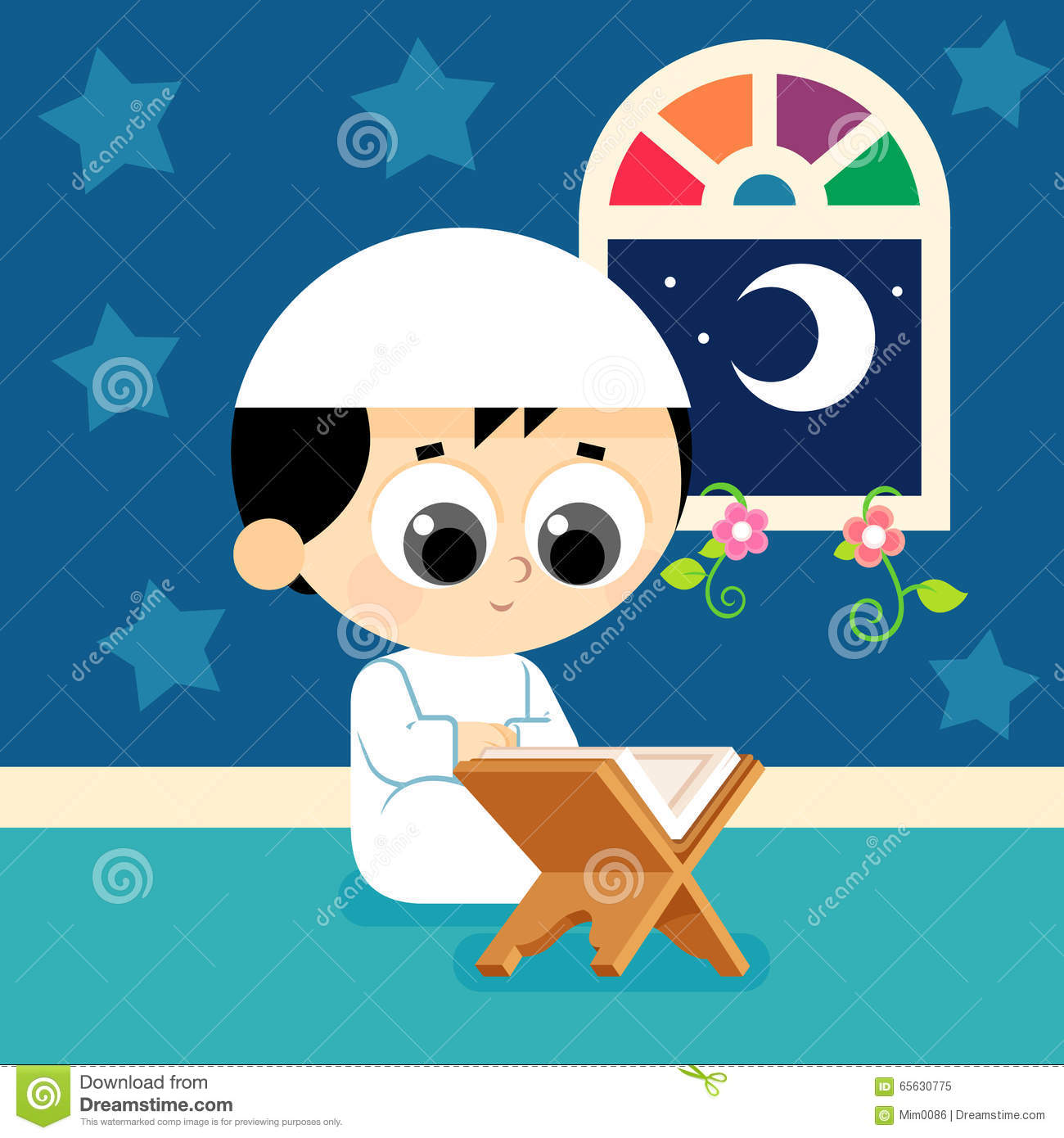 Child Reading Quran Stock Vector  Image 65630775