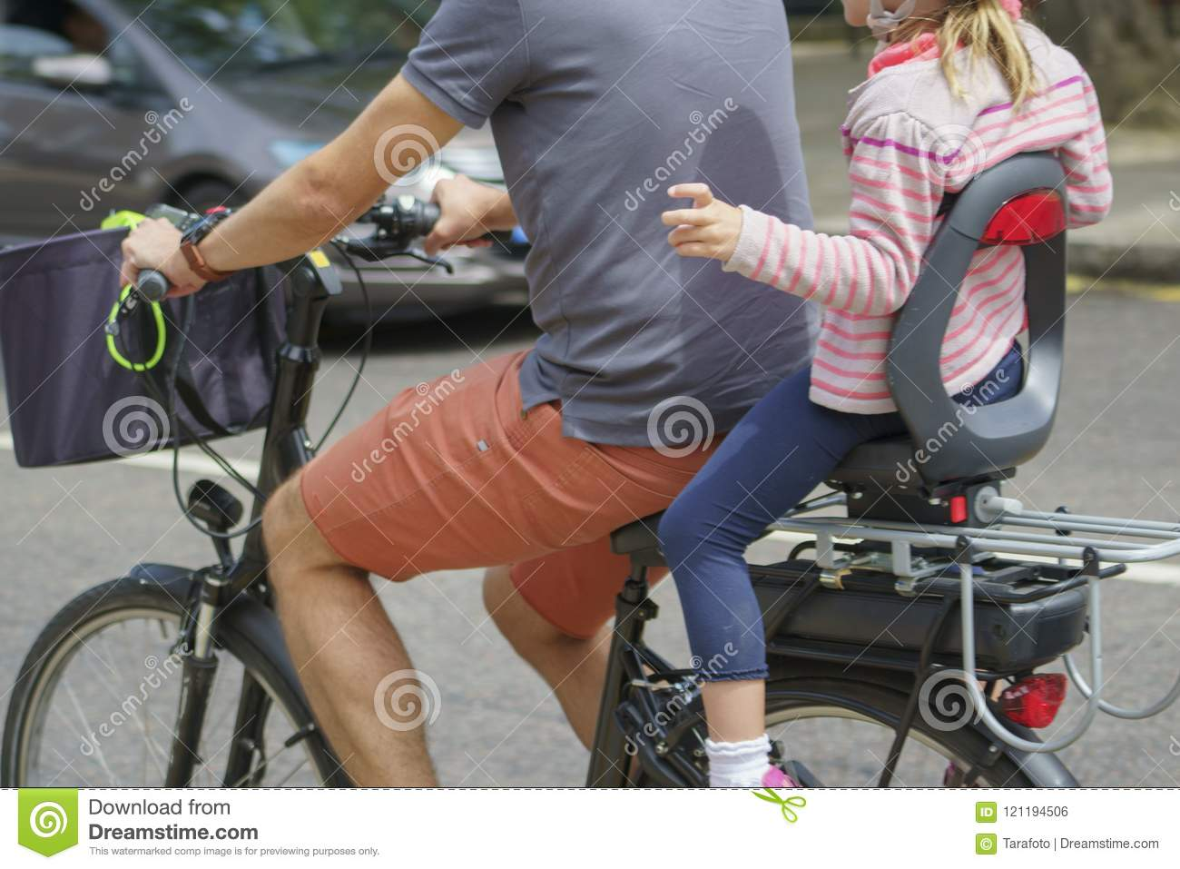 Chair Bike Child Riding Bicycle In Childs Chair Stock Photo Image Of Park