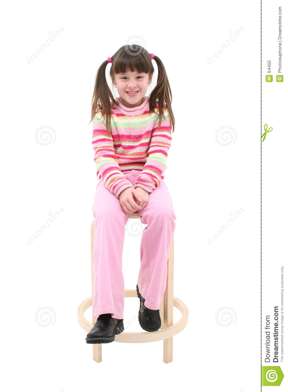 Child Sitting On A Wooden Stool Stock Image Image Of
