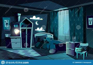 cartoon sleeping bedroom bed child boy lit room little vector letto children het vettore dorme fumetto bambino nel camera che