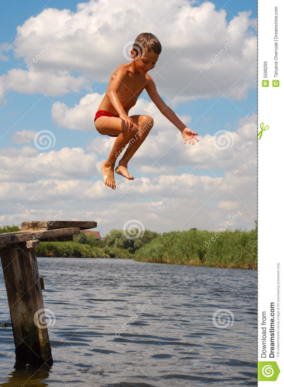 Child Water Fun Happy Jump stock image Image of game