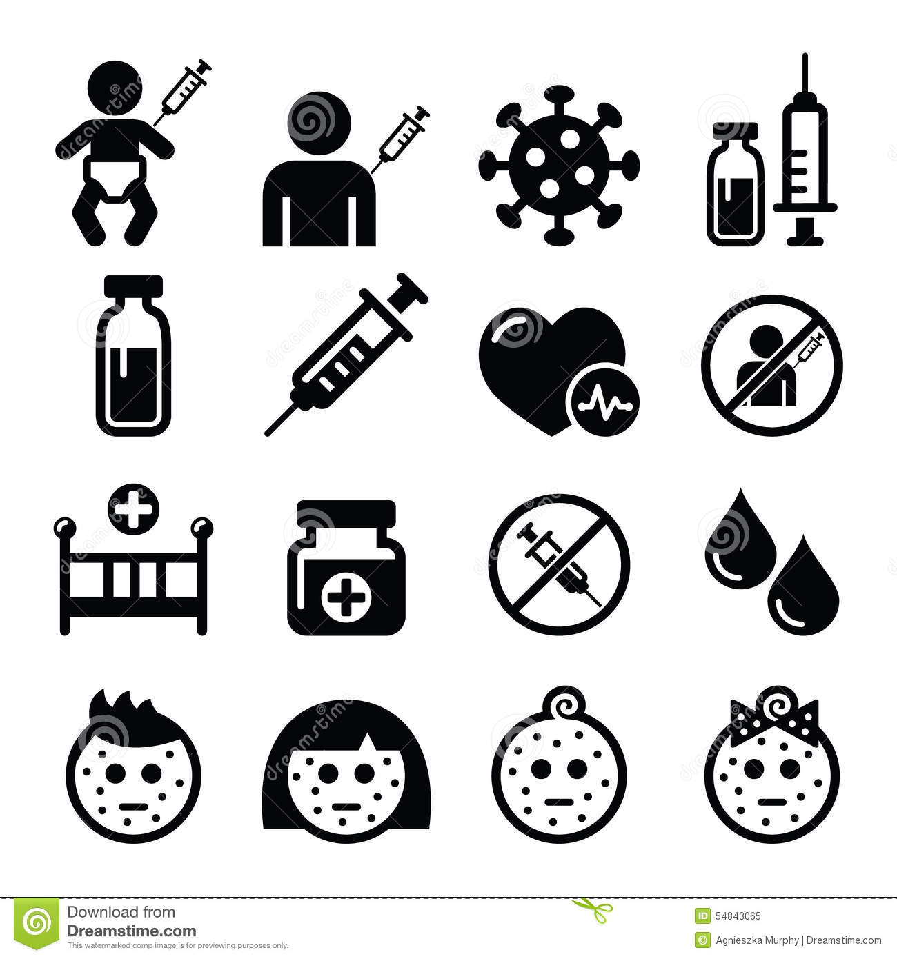 Childhood Vaccinations Chicken Pox Icon Set Stock