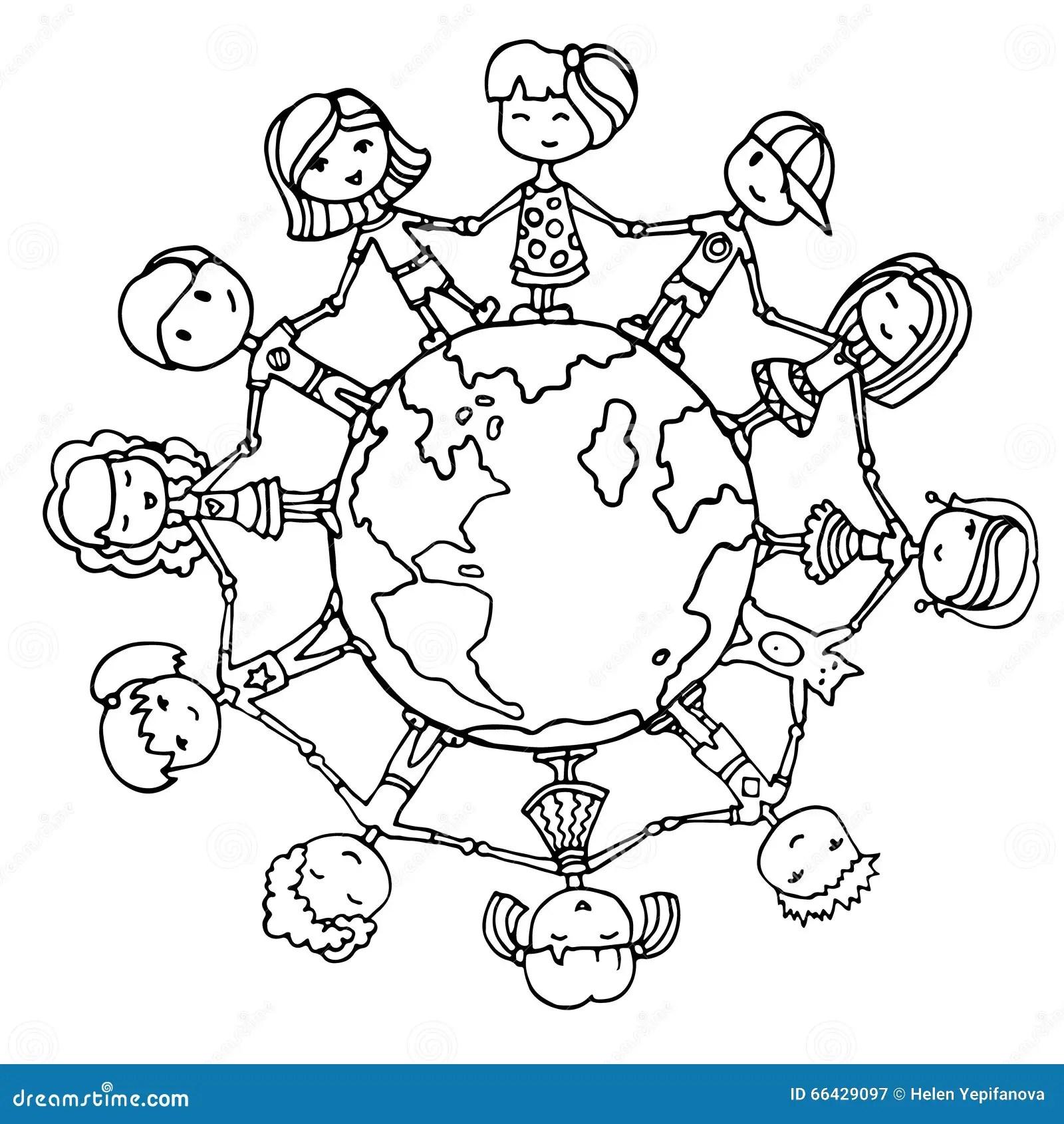 Children around the world stock vector. Illustration of