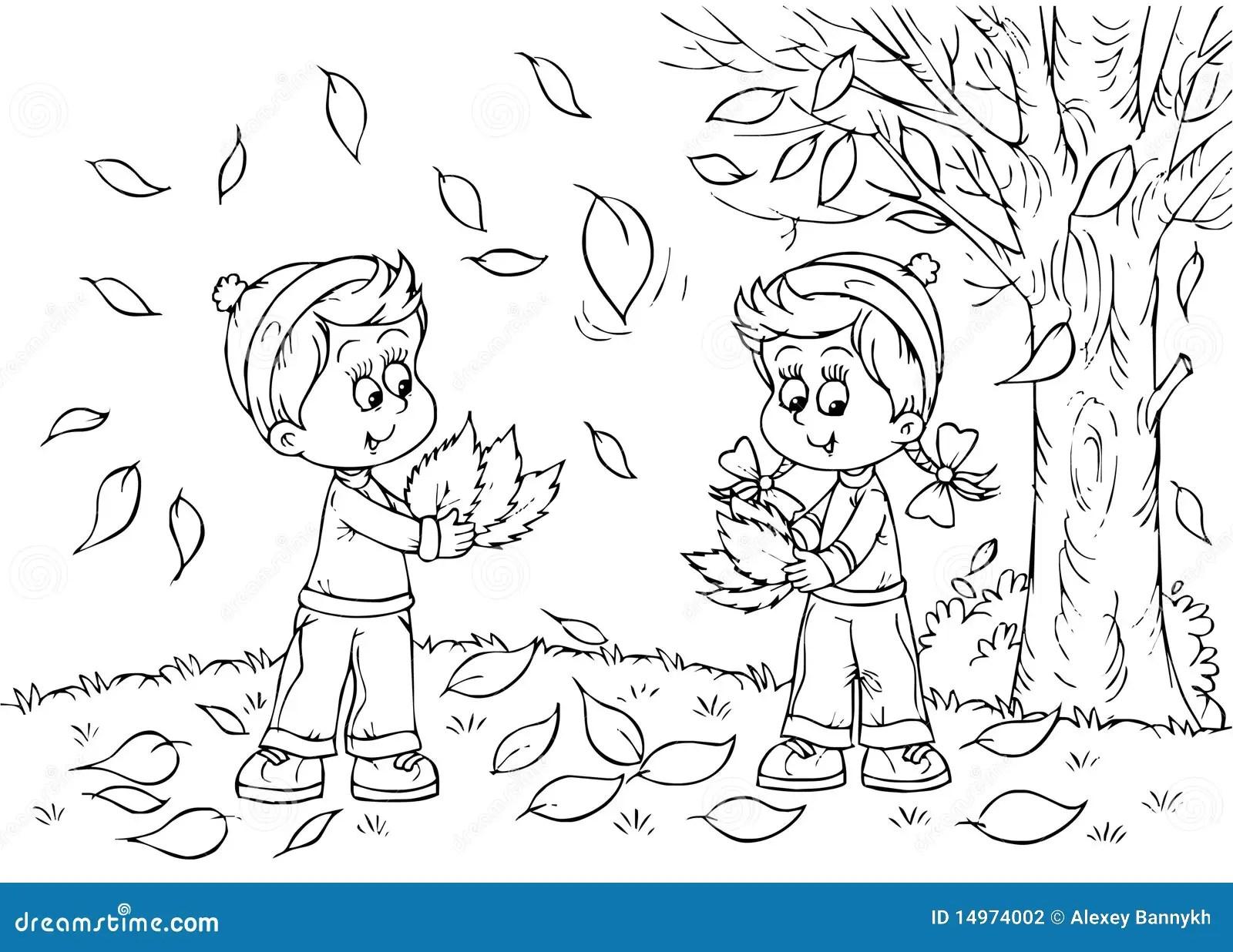 Children in autumn stock illustration. Image of book