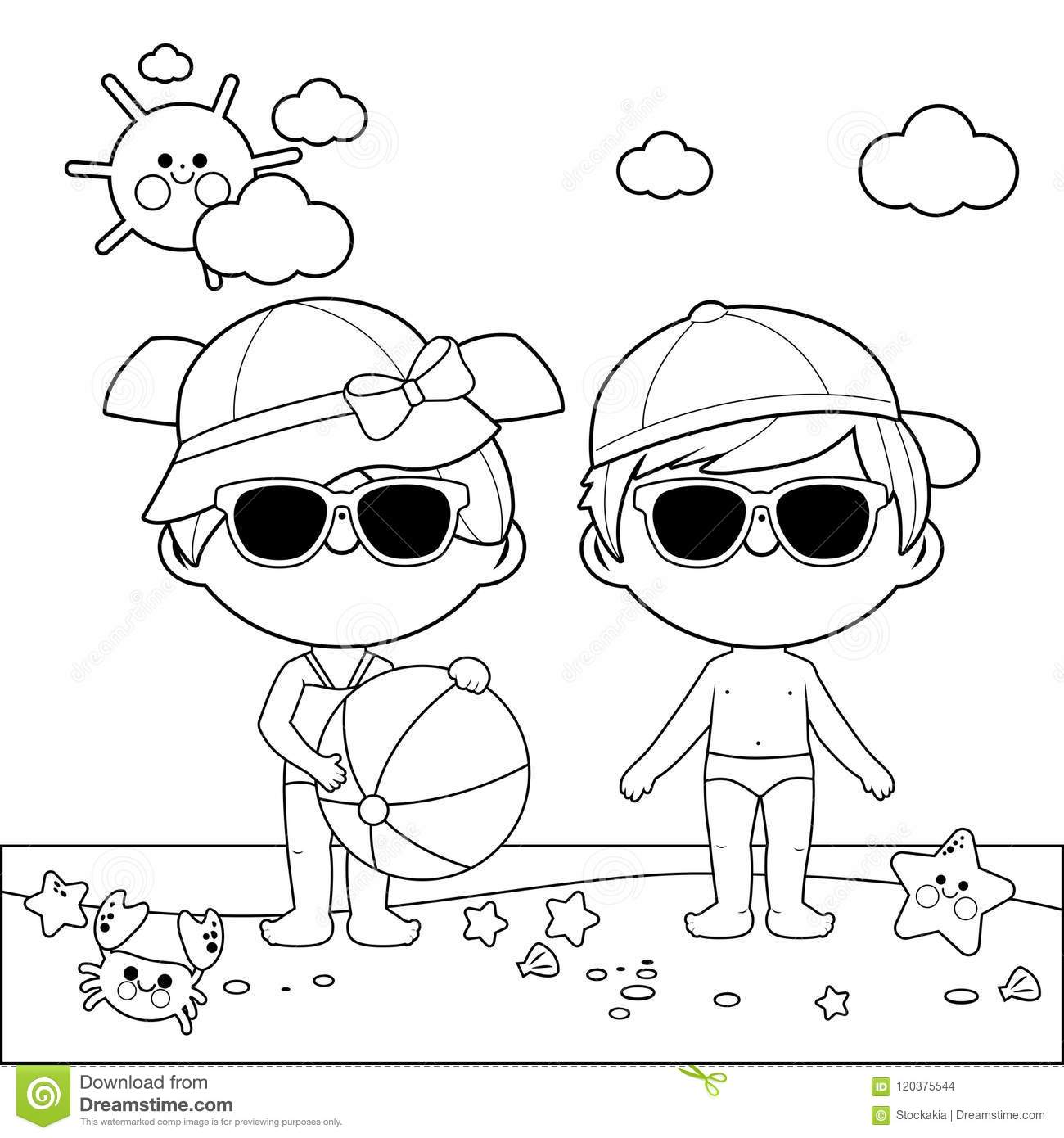 Children At The Beach With Hats And Sunglasses Black And