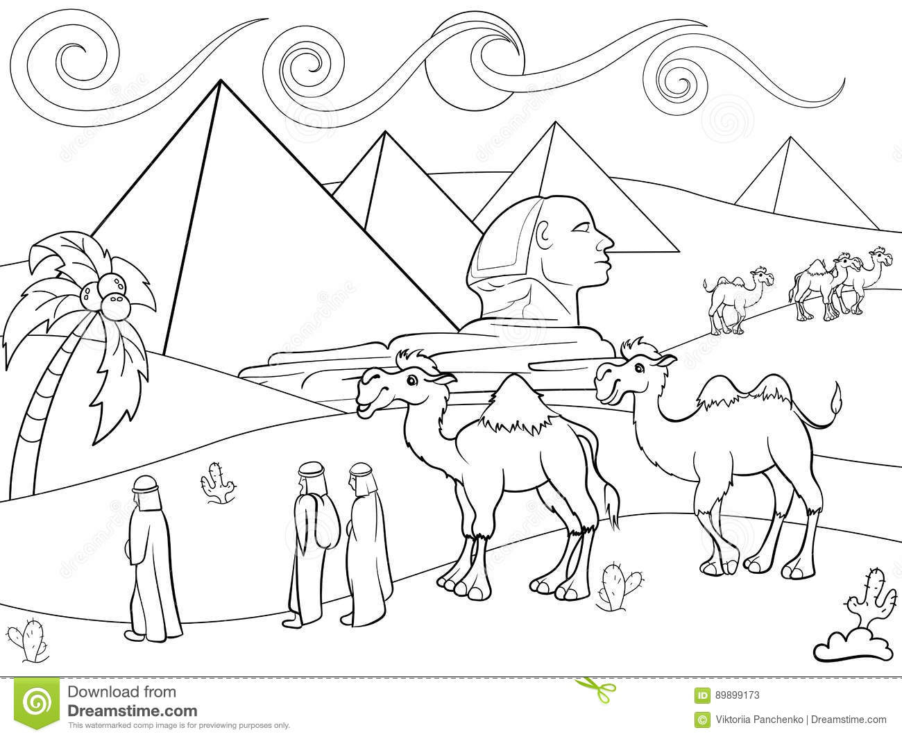 Children Coloring Vector Landscape Of Egypt With The