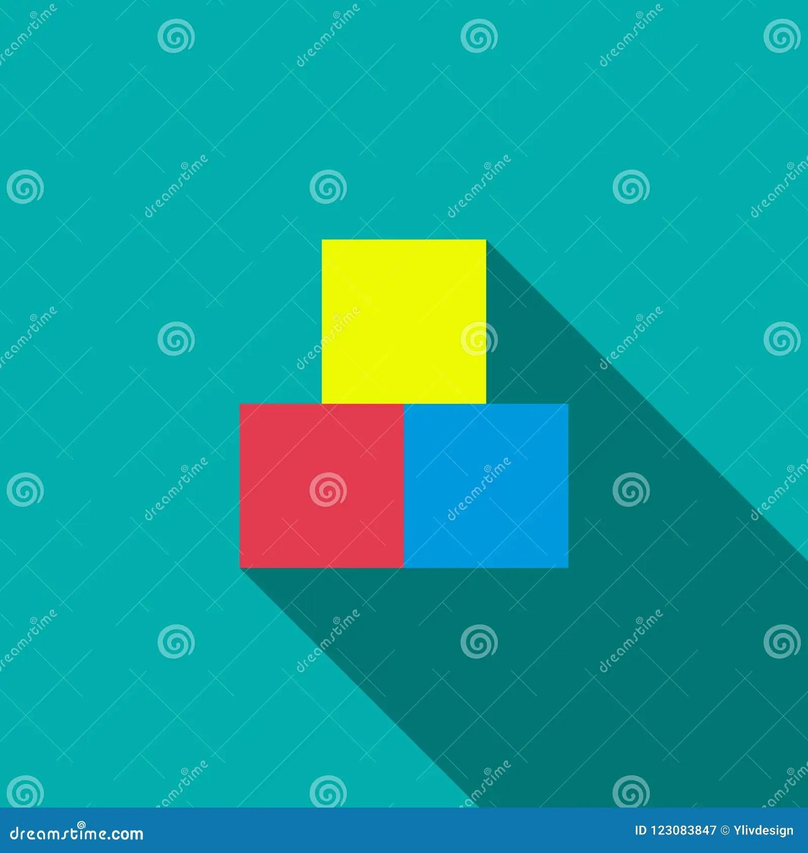Children Cubes Icon Flat Style Stock Illustration