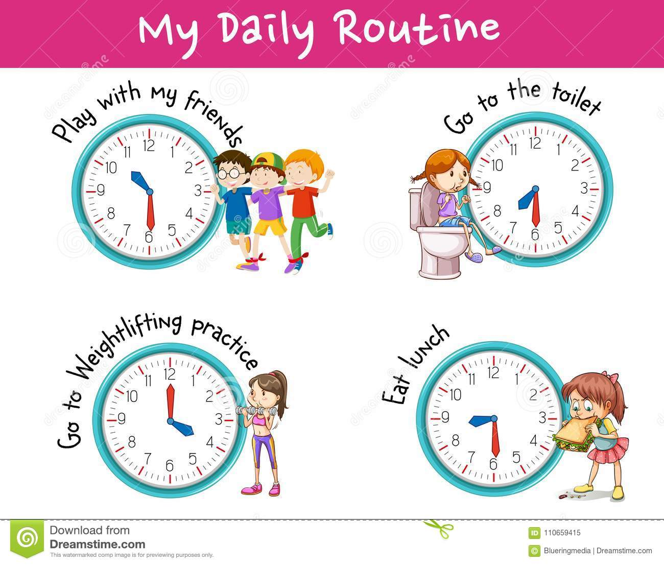 Children And Different Activities For Daily Routine Stock