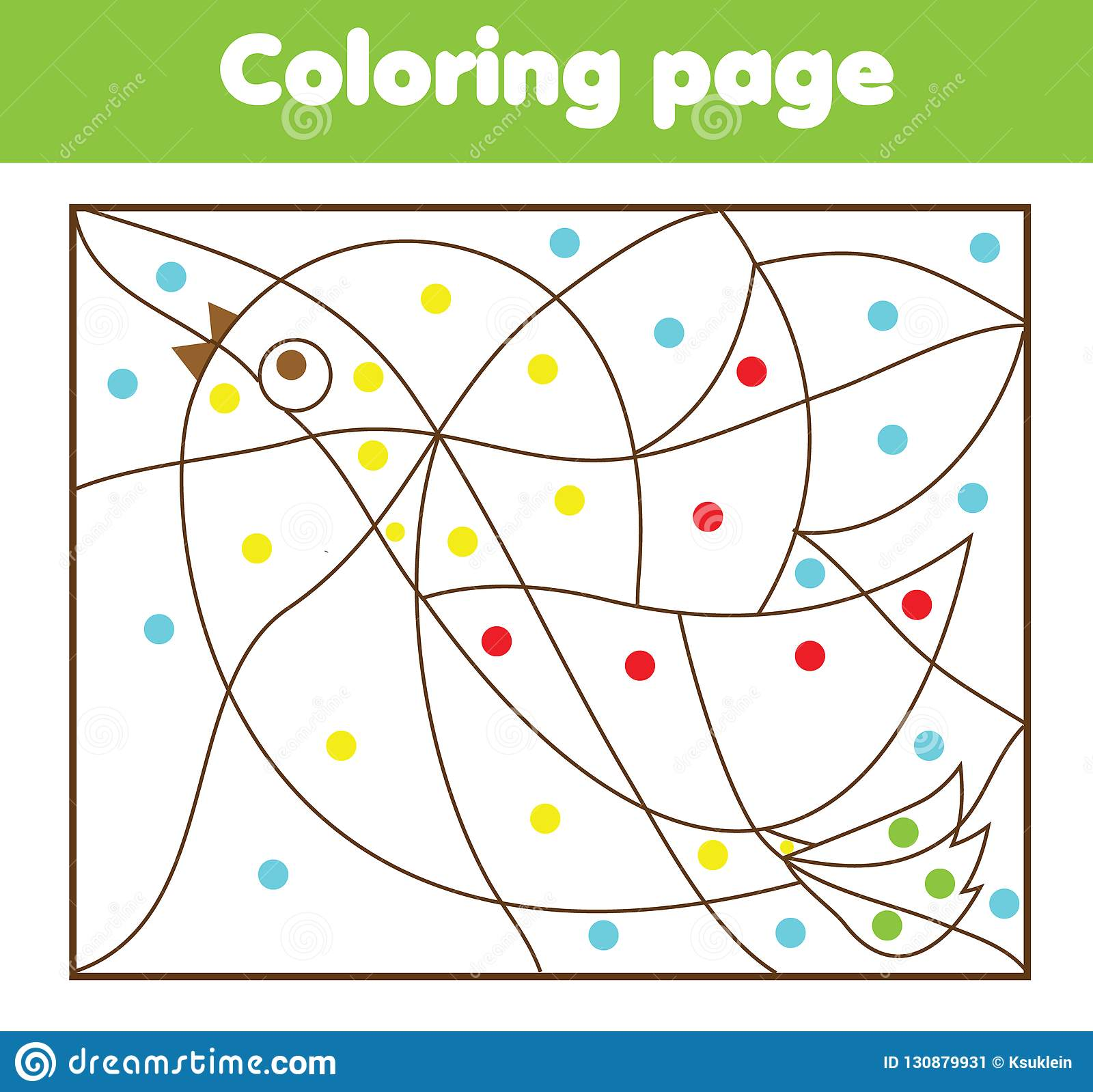 Children Educational Game Coloring Page With Bird Color