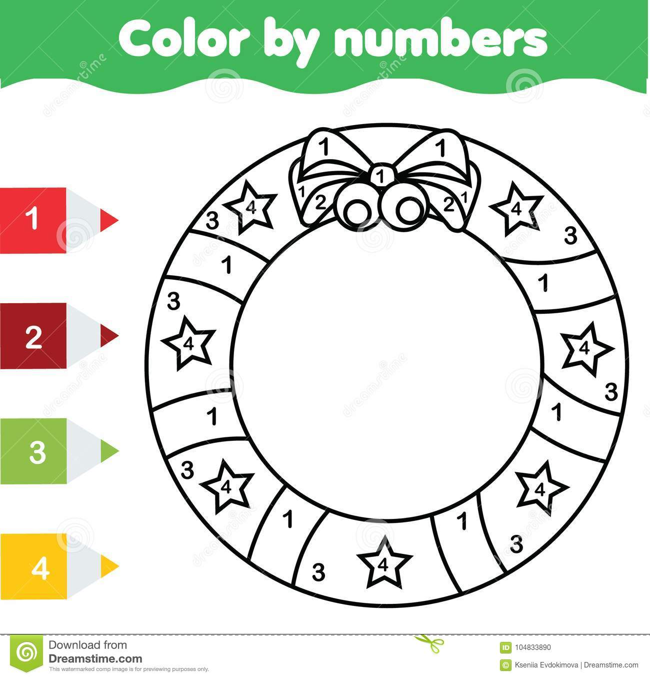 Children Educational Game Coloring Page With Christmas Wreath Color By Numbers Printable