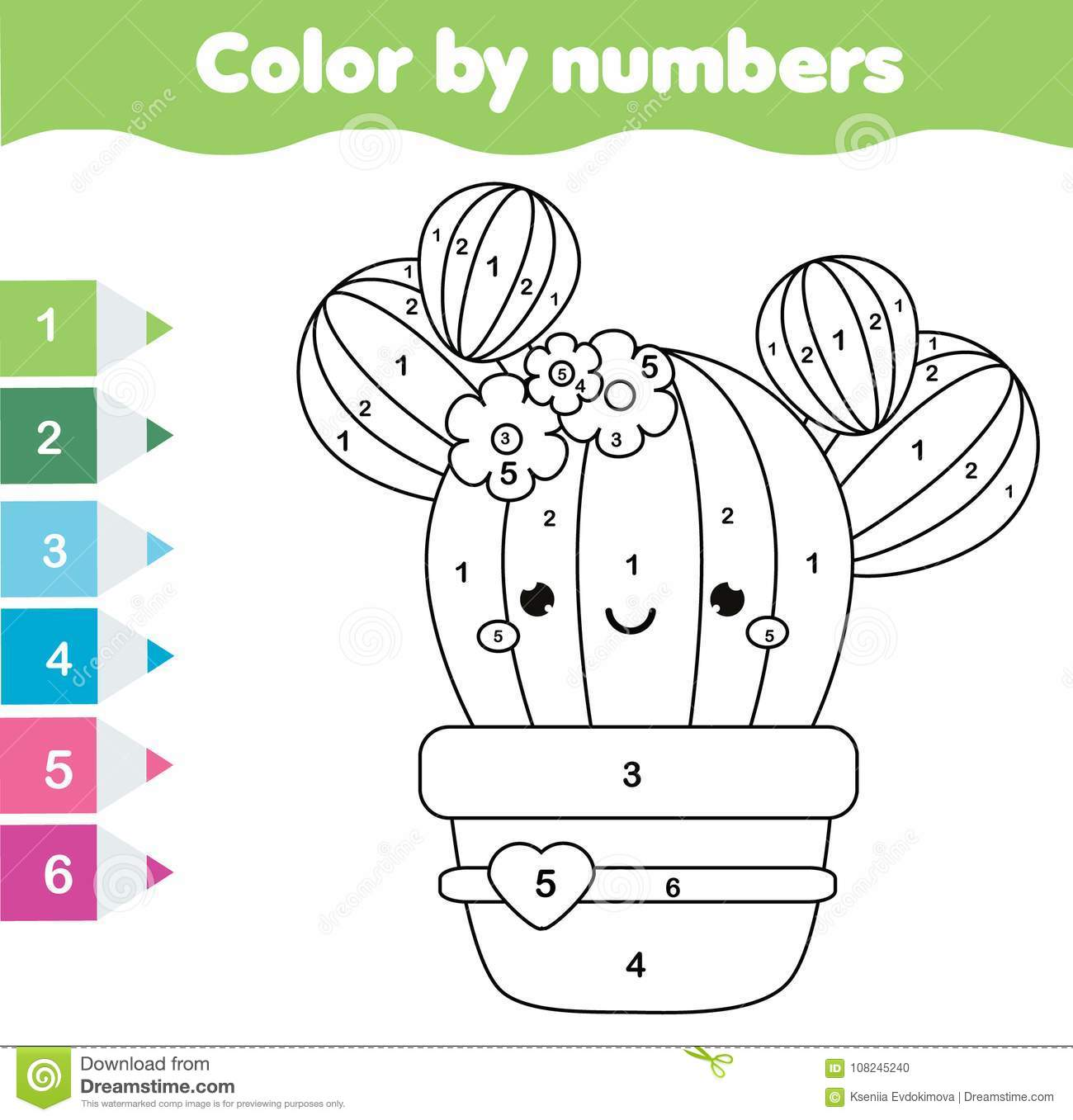 Children Educational Game Coloring Page With Cute Cactus