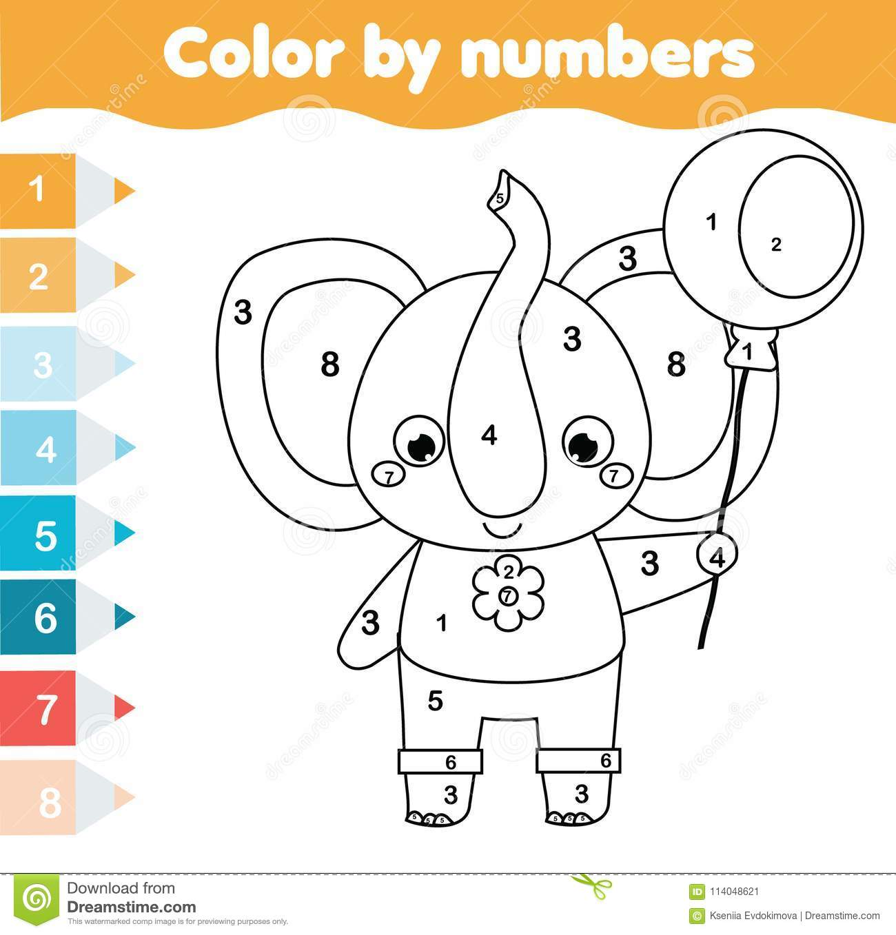 Children Educational Game Coloring Page With Elephant Color By Numbers Printable Activity