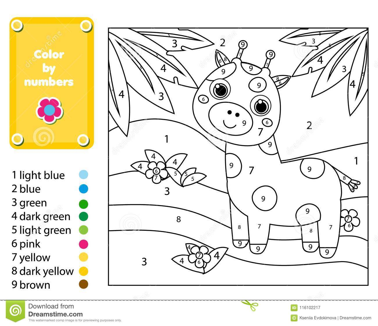 Children Educational Game Coloring Page With Giraffe In