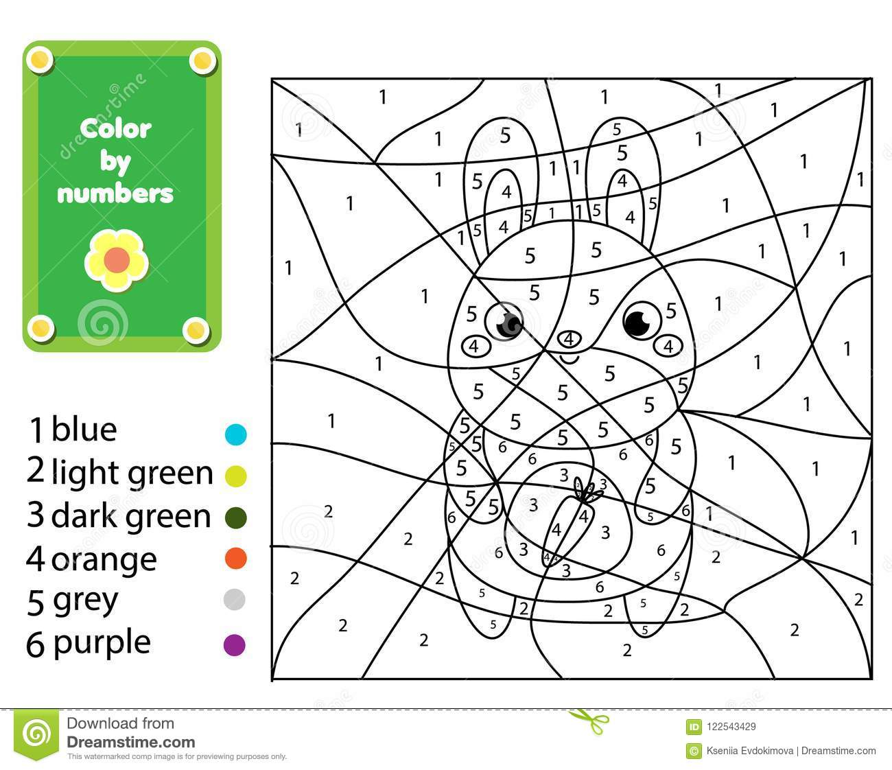 Children Educational Game Coloring Page With Rabbit