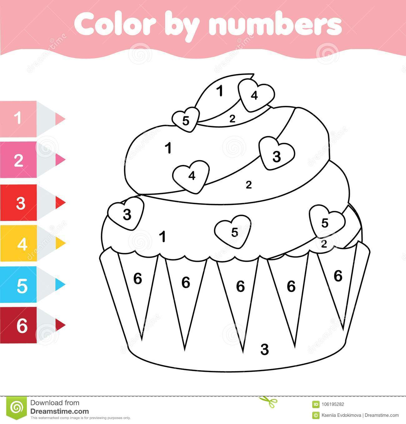 Children Educational Game Coloring Page With Valentine S Day Cupcake Color By Numbers