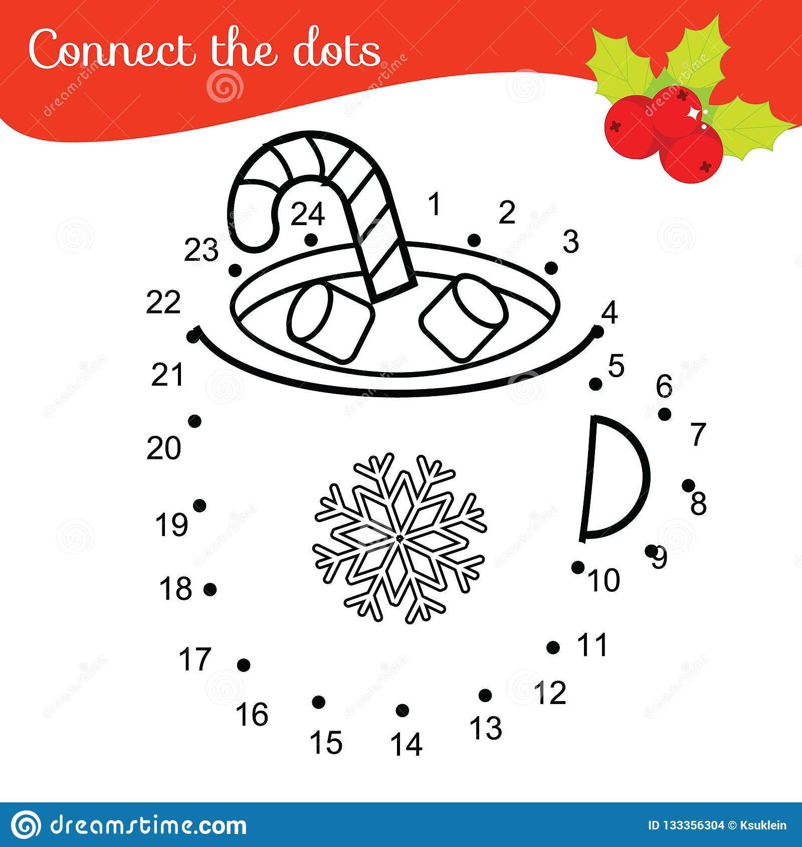Children Educational Game Connect Dots By Numbers Dot To