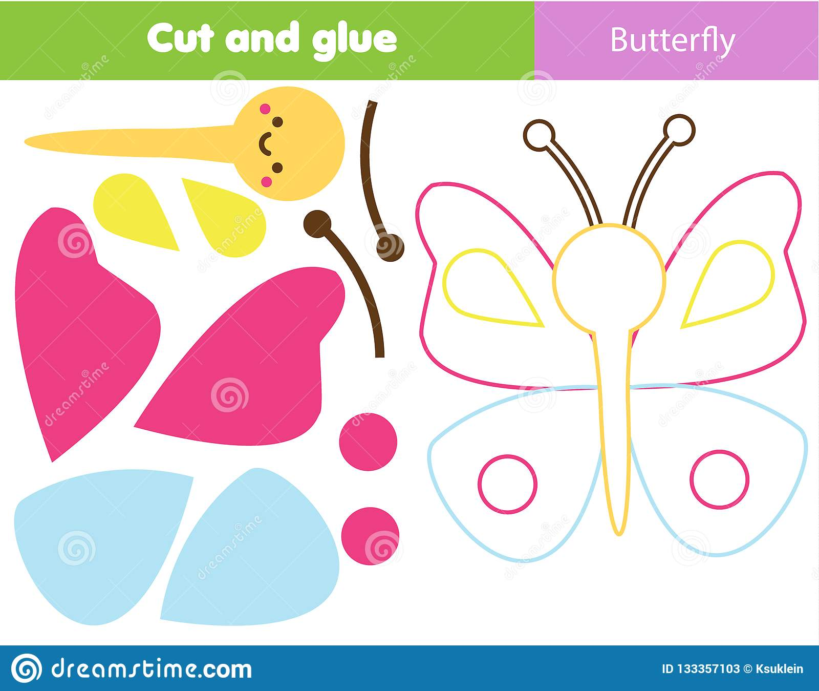 Children Educational Game Cut And Glue Make A Butterfly