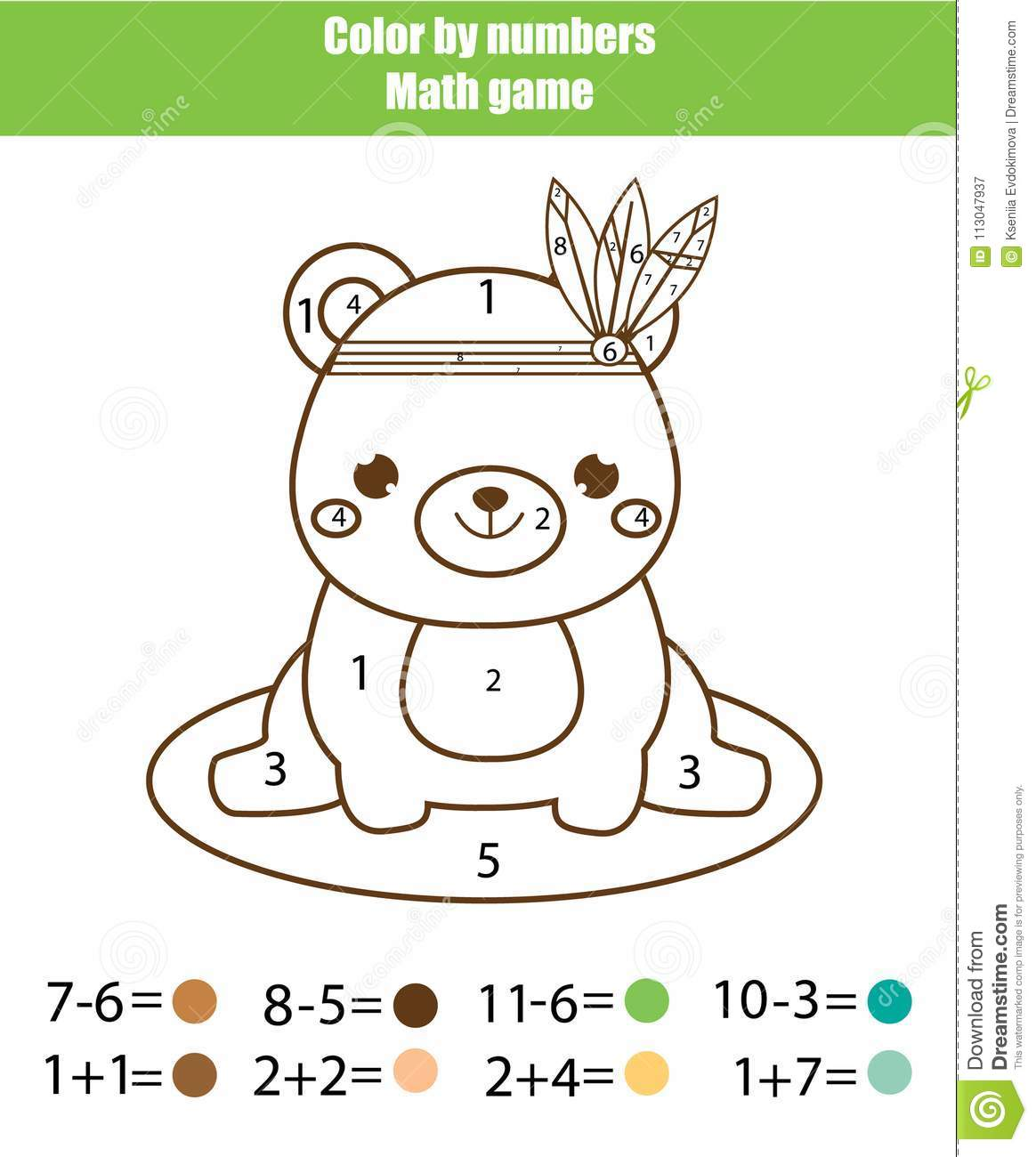 Children Educational Game Mathematics Actvity Color By Numbers Printable Worksheet Coloring