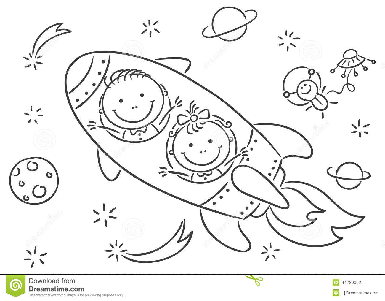 Children Exploring Space Stock Vector Illustration Of