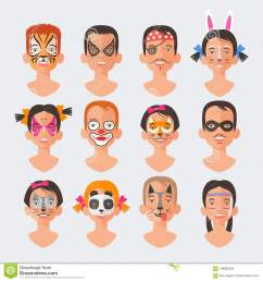 children face painting set vector illustrations [ 1300 x 1390 Pixel ]