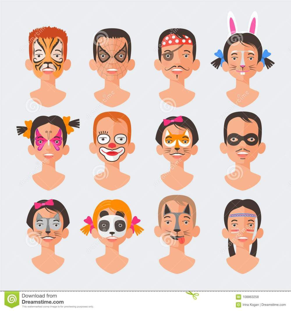 medium resolution of children face painting set vector illustrations