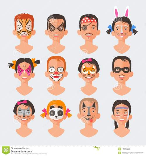 small resolution of children face painting set vector illustrations