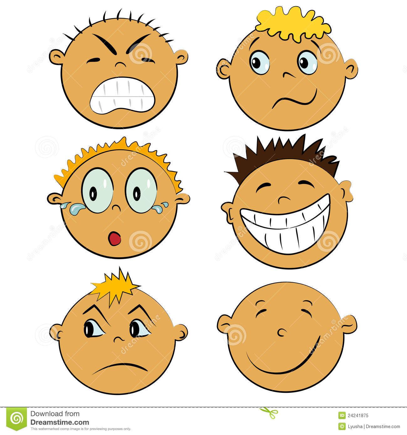 Children Faces Set People Emotions Royalty Free Stock