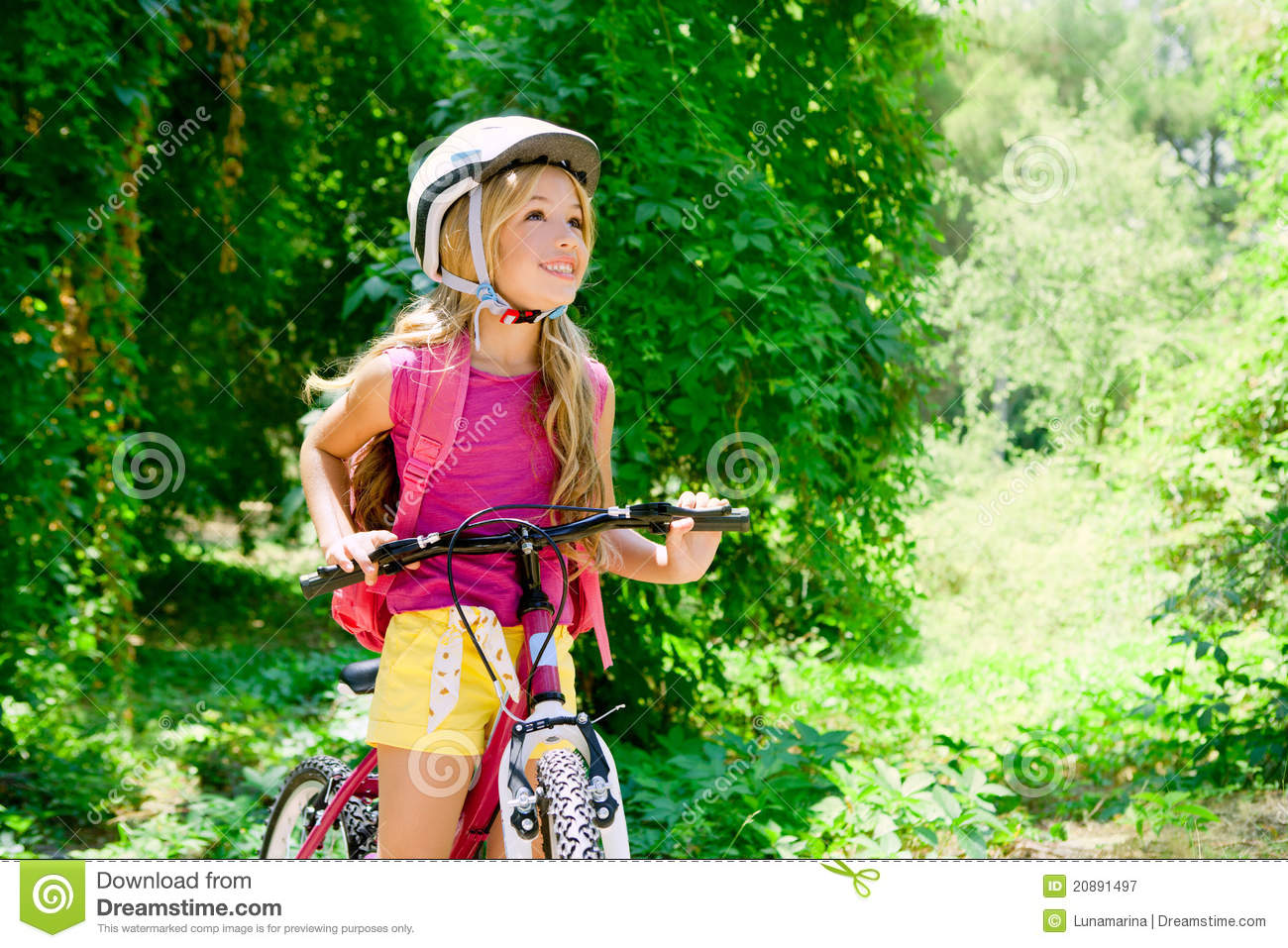 Cute Small Girl Wallpaper Download Children Girl Riding Bicycle Outdoor In Forest Stock Image