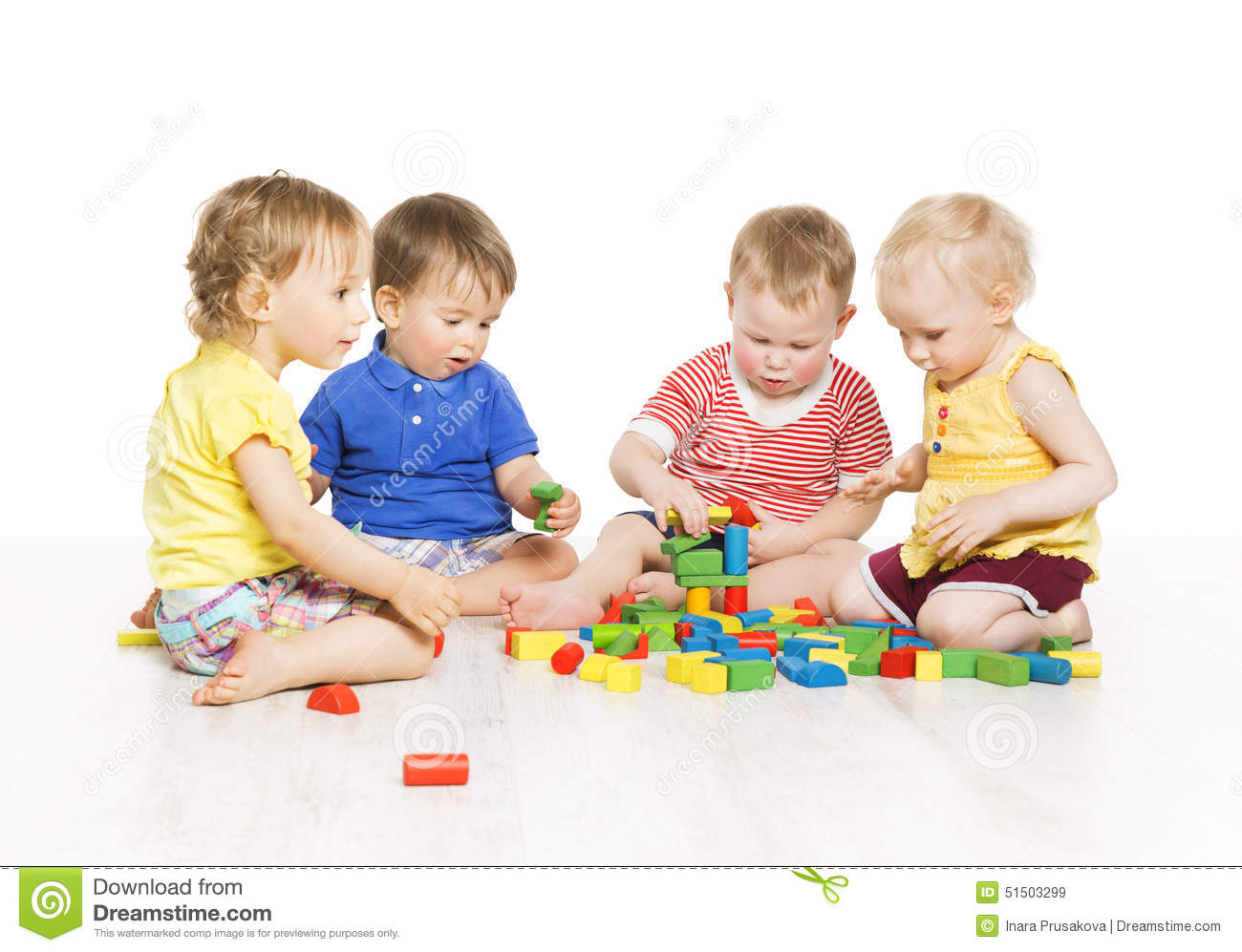 Children Group Playing Toy Blocks Little Kids Early Development Stock Image