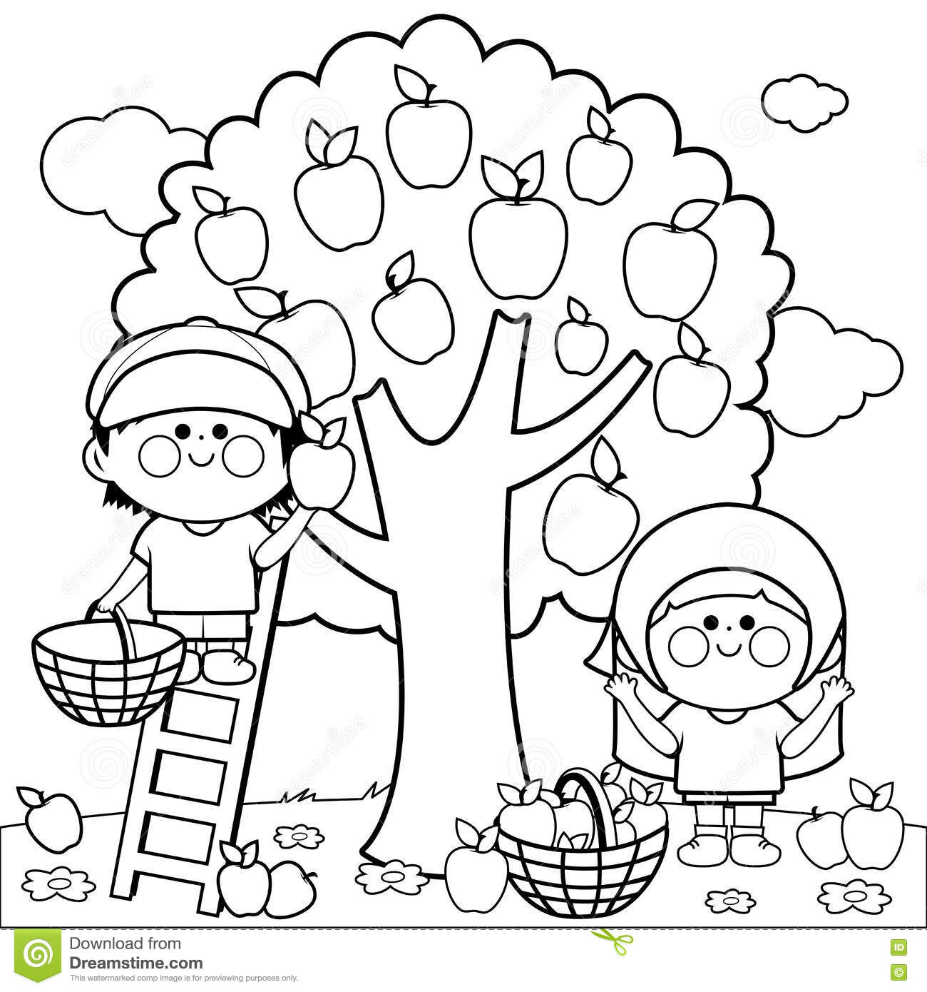 Apples And Pie For Coloring Vector Illustration