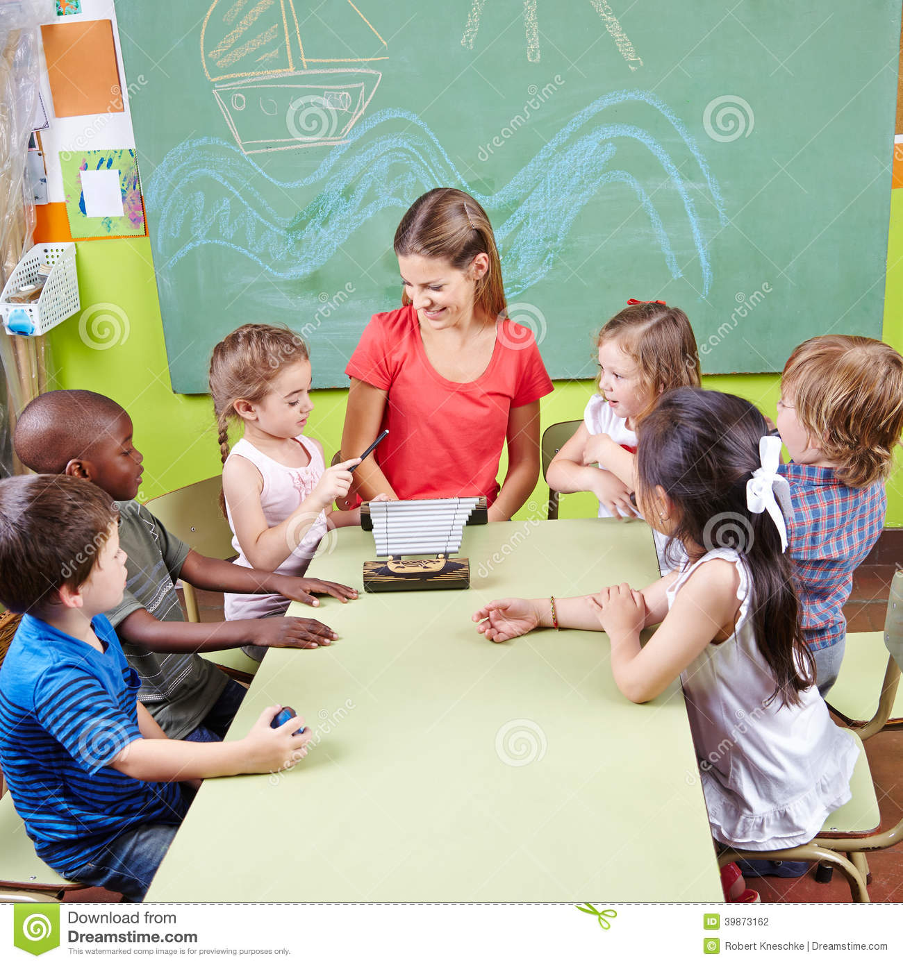 Children In Music School Playing Stock Photo