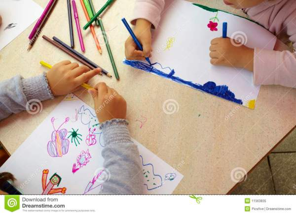 Children Painting Drawing School Education Stock