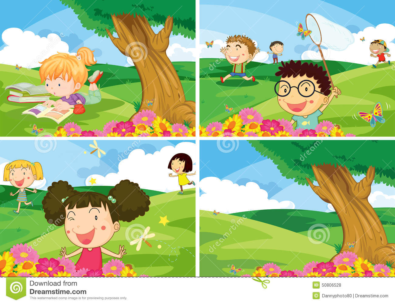 Children And Park Stock Vector