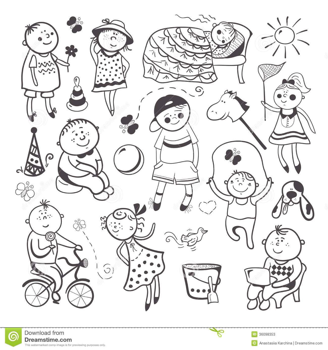 Children Play With Toys Stock Vector Illustration Of