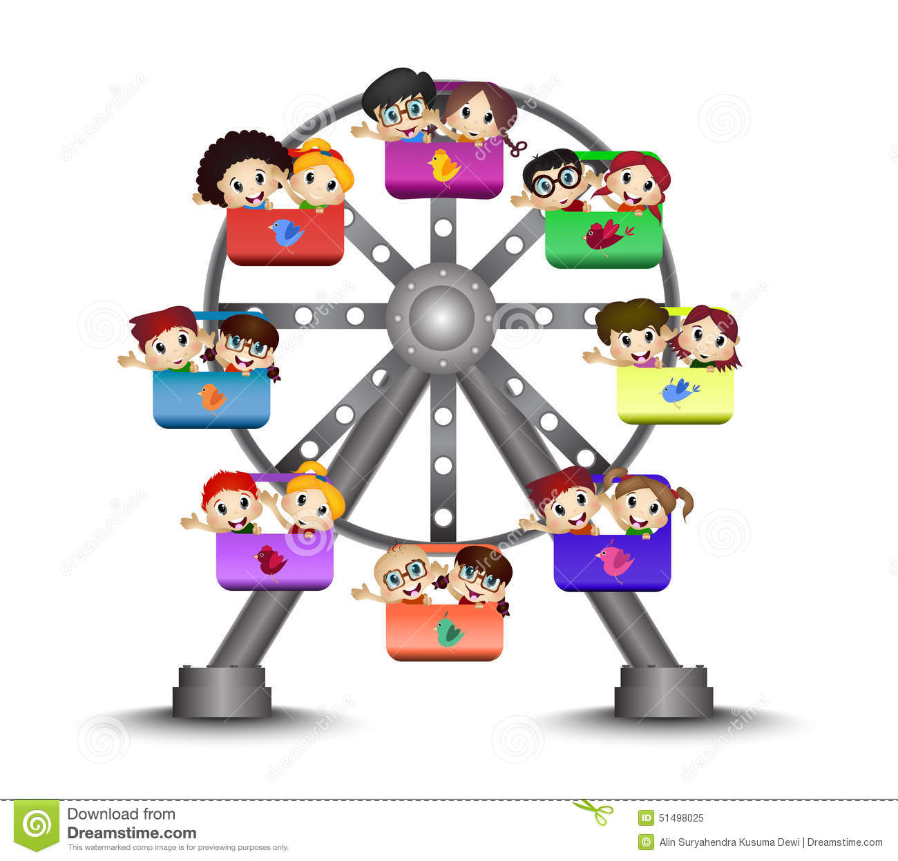 Children Playing In A Ferris Wheel Stock Vector