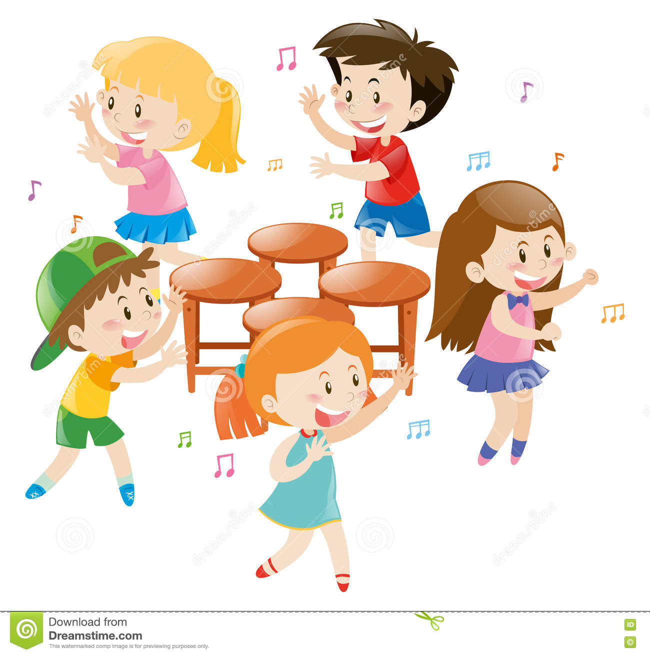 Music Chair Children Playing Music Chair Stock Illustration