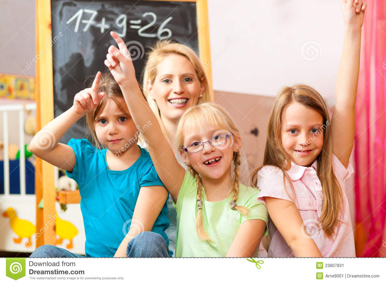 Children Playing School At Home Stock Image