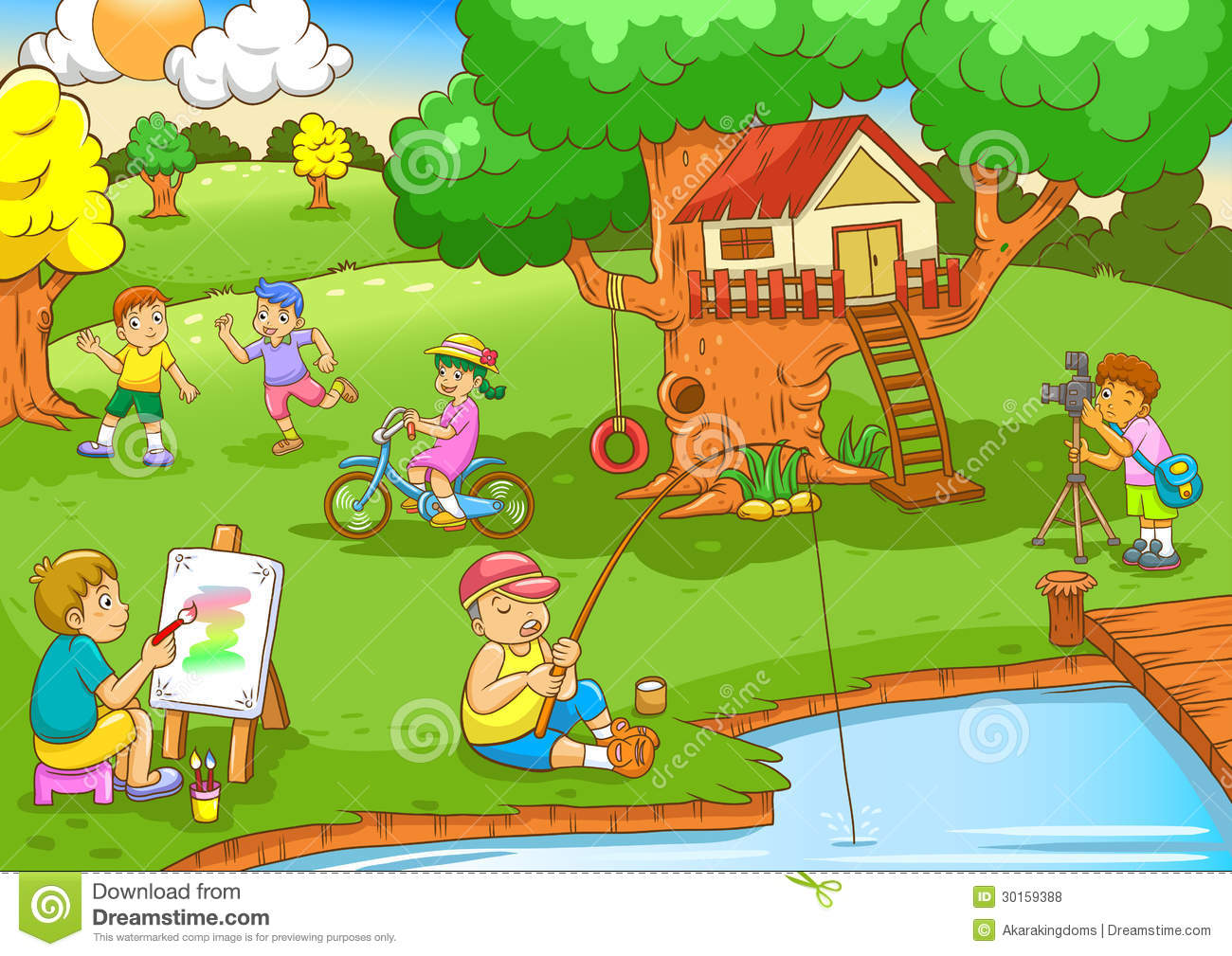 Children Playing Under Tree House Royalty Free Stock