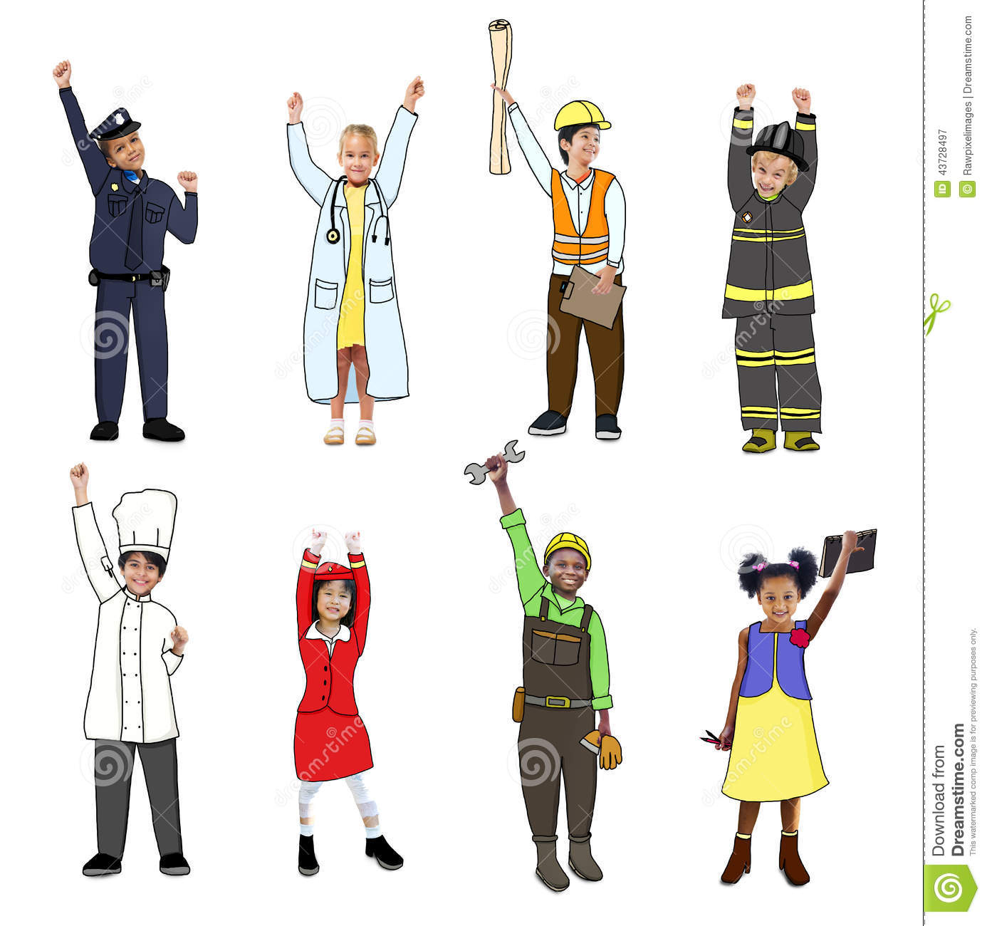 Children With Professional Occupation Concept Stock