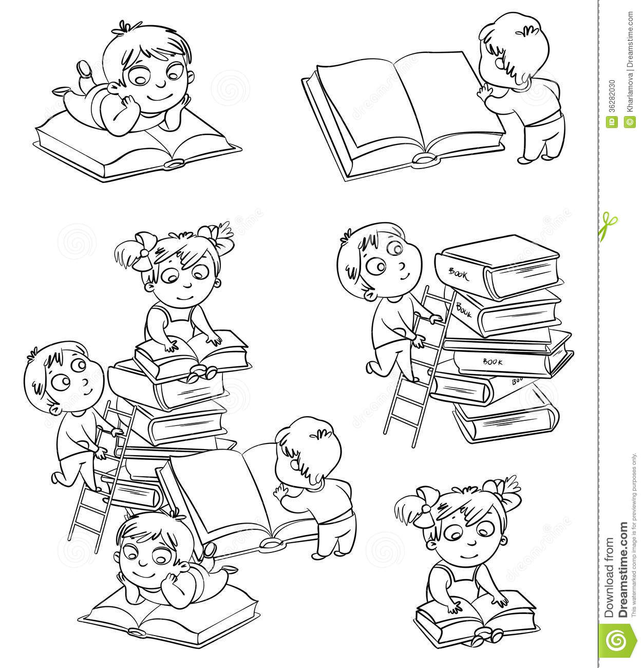 Children Reading Books In The Library. Coloring Book Stock