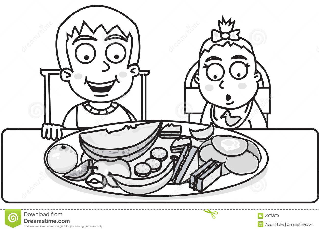Children Ready To Eat Royalty Free Stock Images