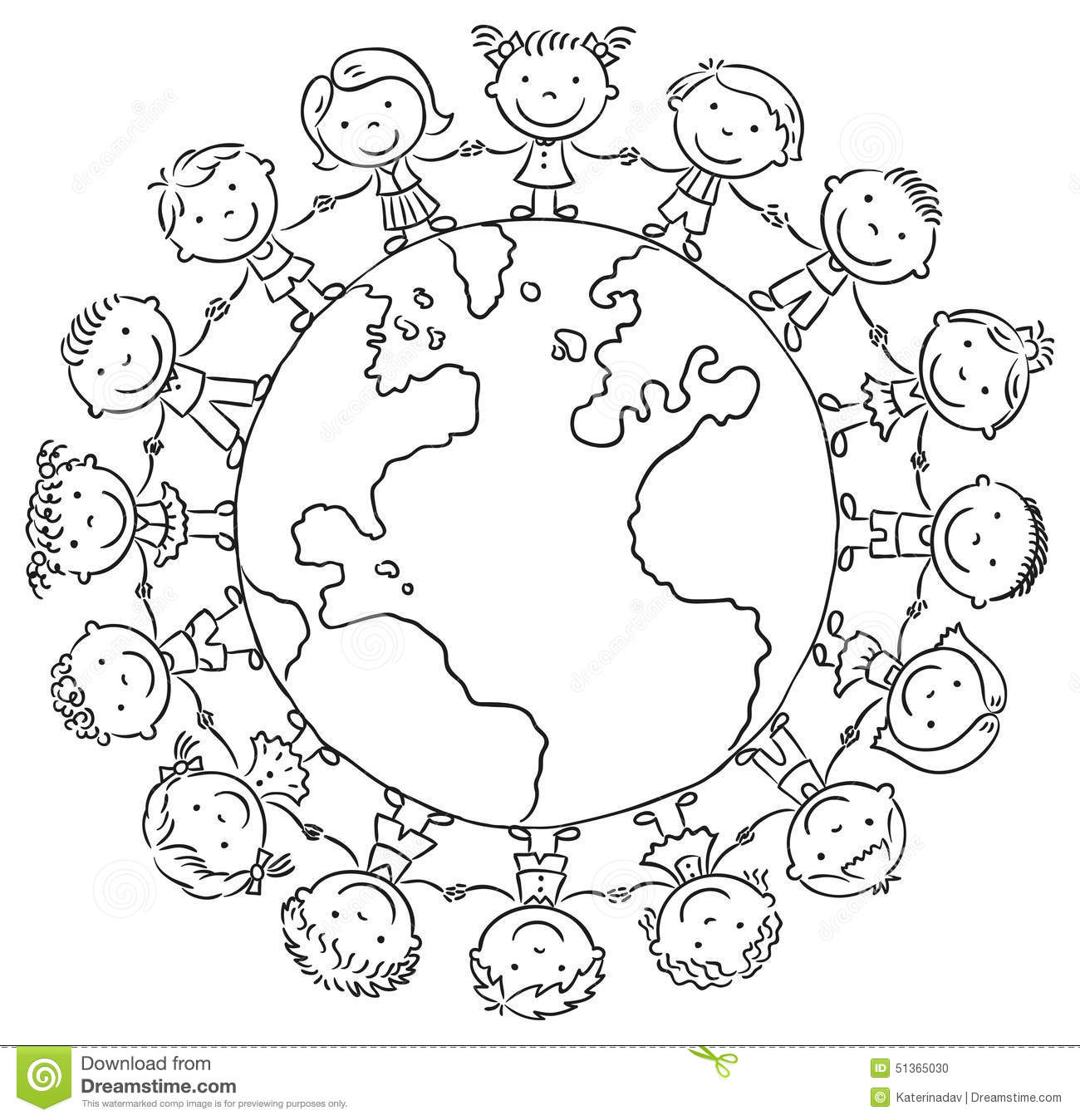 Children Round The Globe Stock Vector Illustration Of